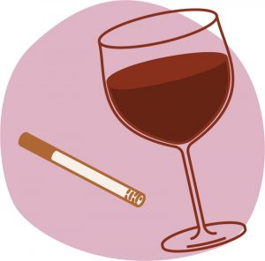Image of a cigarette and a glass of wine